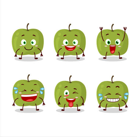 Cartoon character of green apple with smile expression