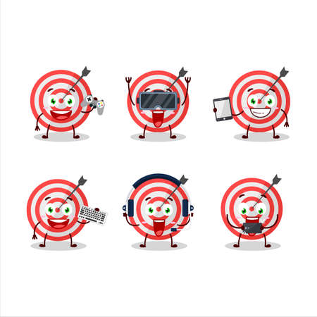 Target cartoon character are playing games with various cute emoticons