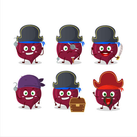 Cartoon character of beetroot with various pirates emoticons