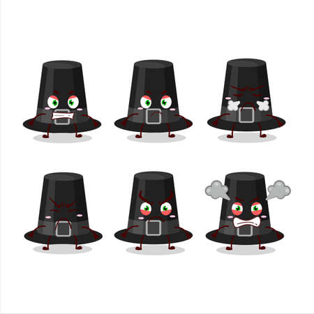 Black pilgrims hat cartoon character with various angry expressions
