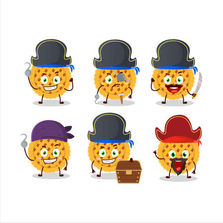 Cartoon character of pumpkin pie with various pirates emoticons
