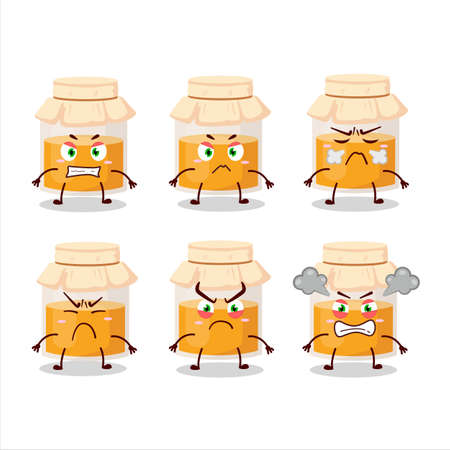 White honey jar cartoon character with various angry expressions