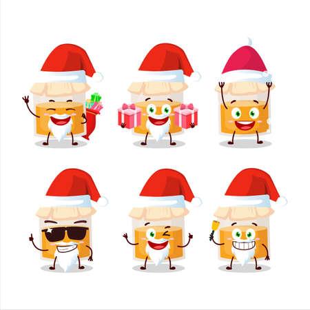 Santa Claus emoticons with white honey jar cartoon character