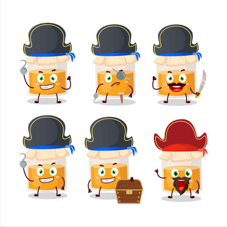 Cartoon character of white honey jar with various pirates emoticons