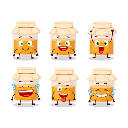 Cartoon character of white honey jar with smile expression  イラスト・ベクター素材