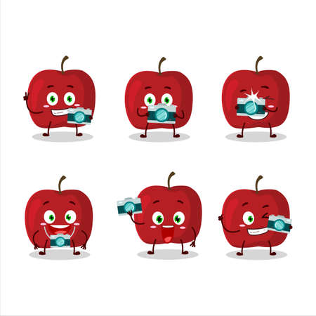 Photographer profession emoticon with red apple cartoon character Ilustrace