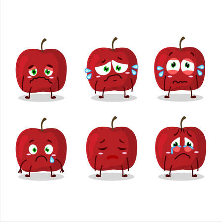 Red apple cartoon character with sad expression