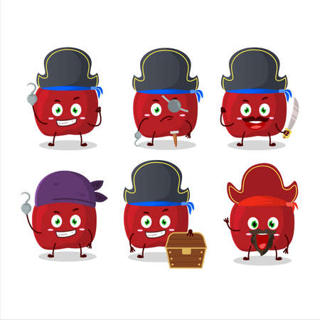 Cartoon character of red apple with various pirates emoticons