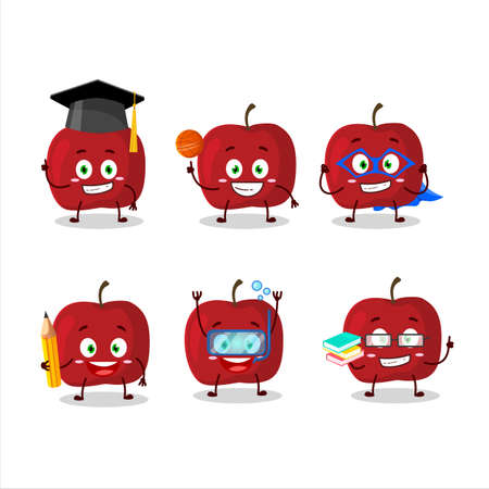 School student of red apple cartoon character with various expressions