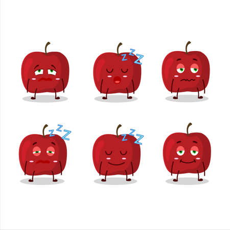 Cartoon character of red apple with sleepy expression