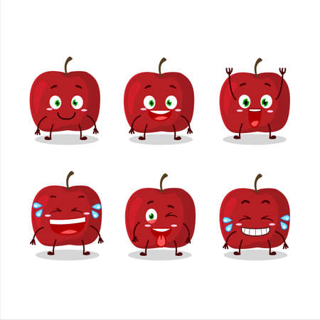 Cartoon character of red apple with smile expression