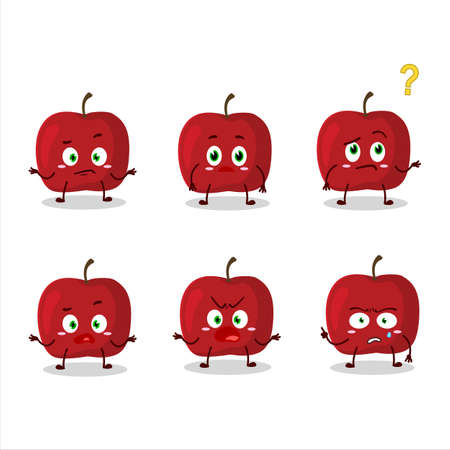 Cartoon character of red apple with what expression