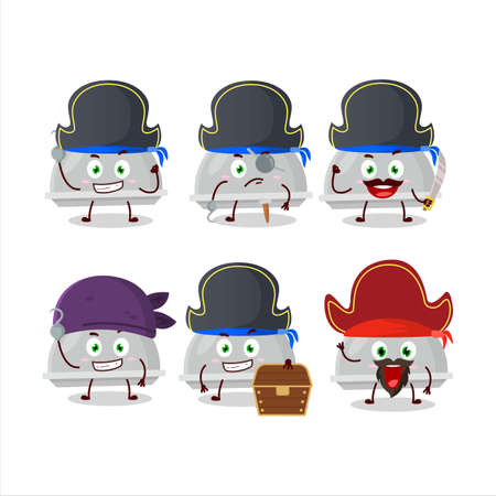 Cartoon character of silver cloche with various pirates emoticons