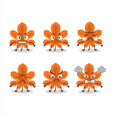 Orange dried leaves cartoon character with various angry expressions