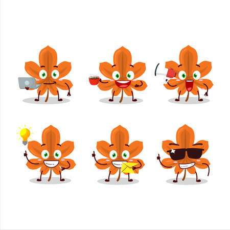 Orange dried leaves cartoon character with various types of business emoticons