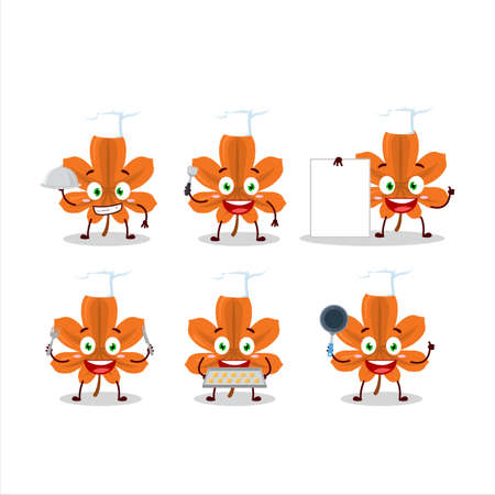 Cartoon character of orange dried leaves with various chef emoticons