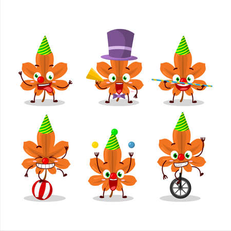 Cartoon character of orange dried leaves with various circus shows Vectores