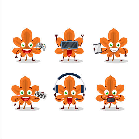 Orange dried leaves cartoon character are playing games with various cute emoticons