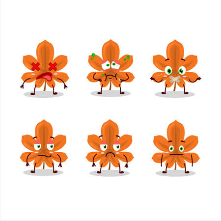 Orange dried leaves cartoon character with nope expression