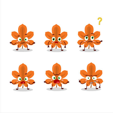 Cartoon character of orange dried leaves with what expression