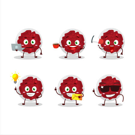 Mashed cranberry cartoon character with various types of business emoticons