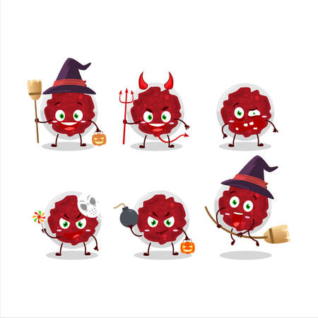 Halloween expression emoticons with cartoon character of mashed cranberry