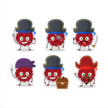 Cartoon character of mashed cranberry with various pirates emoticons