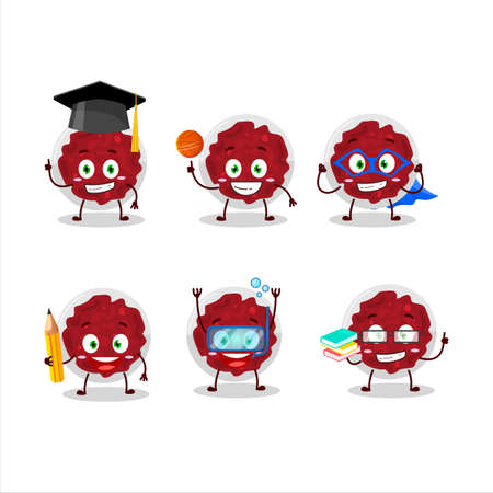 School student of mashed cranberry cartoon character with various expressions Ilustração