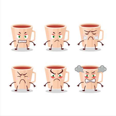 Thanksgiving tea cartoon character with various angry expressions