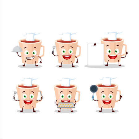 Cartoon character of thanksgiving tea with various chef emoticons