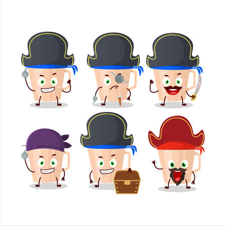 Cartoon character of thanksgiving tea with various pirates emoticons