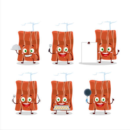 Cartoon character of fried bacon with various chef emoticons