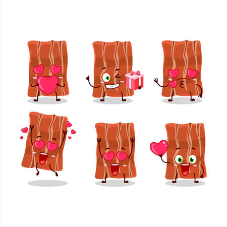 Fried bacon cartoon character with love cute emoticon