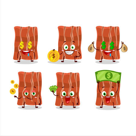 Fried bacon cartoon character with cute emoticon bring money