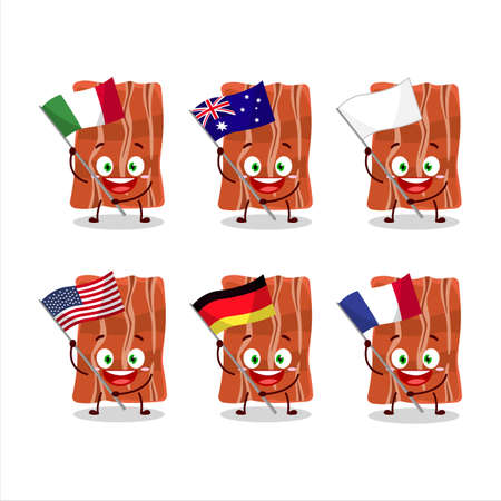 Fried bacon cartoon character bring the flags of various countries Vettoriali