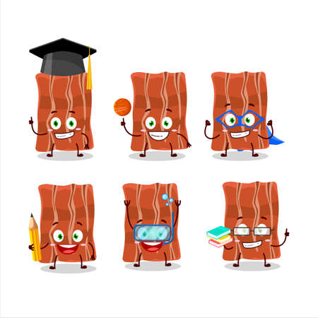 School student of fried bacon cartoon character with various expressions