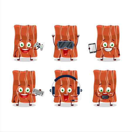 Fried bacon cartoon character are playing games with various cute emoticons