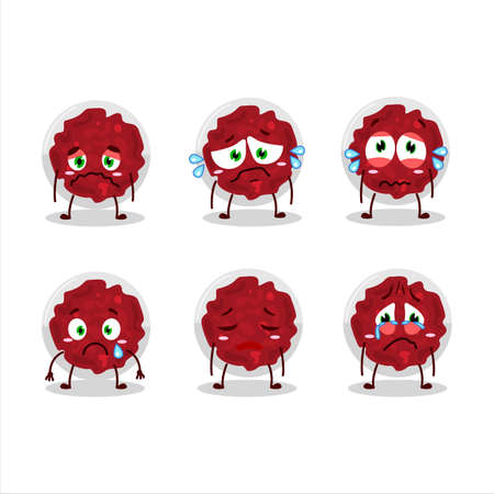 Mashed cranberry cartoon character with sad expression