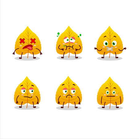 Yellow dried leaves cartoon character with nope expression