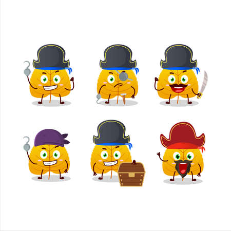 Cartoon character of yellow dried leaves with various pirates emoticons