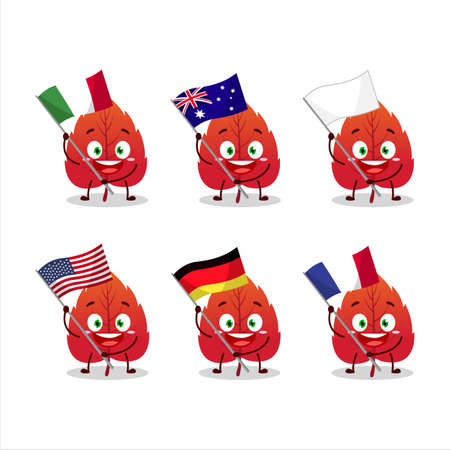 Red dried leaves cartoon character bring the flags of various countries