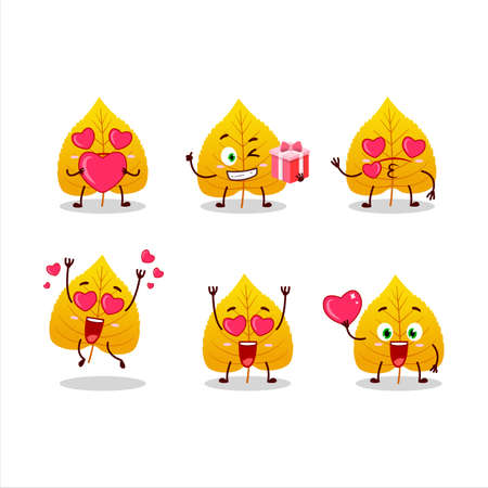 Yellow dried leaves cartoon character with love cute emoticon