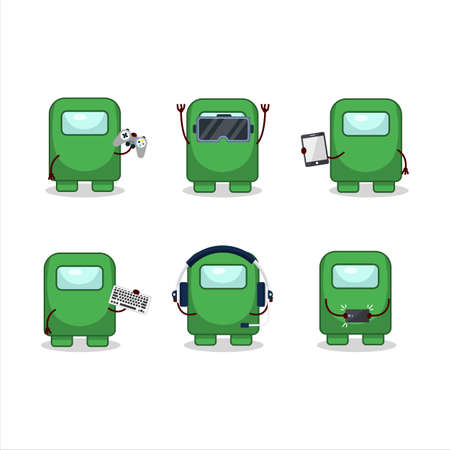 Among us green cartoon character are playing games with various cute emoticons