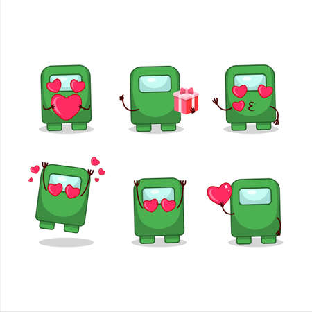 Among us green cartoon character with love cute emoticon