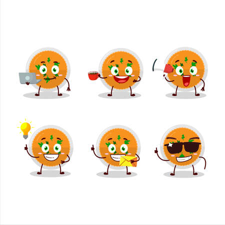 Mashed orange potatoes cartoon character with various types of business emoticons Ilustração