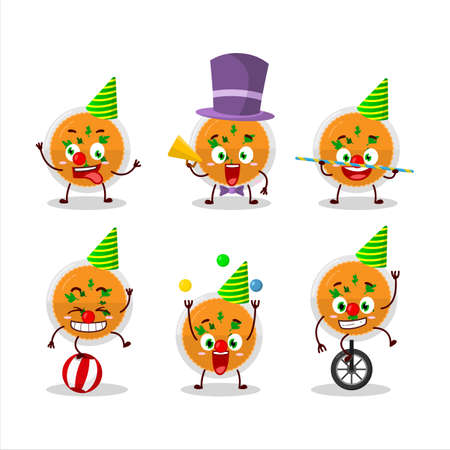 Cartoon character of mashed orange potatoes with various circus shows