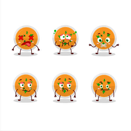 Mashed orange potatoes cartoon character with nope expression