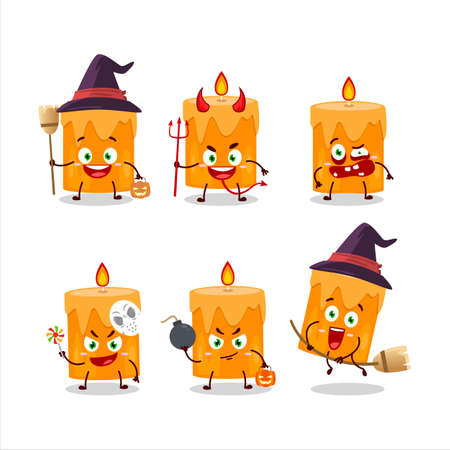 Halloween expression emoticons with cartoon character of orange candle