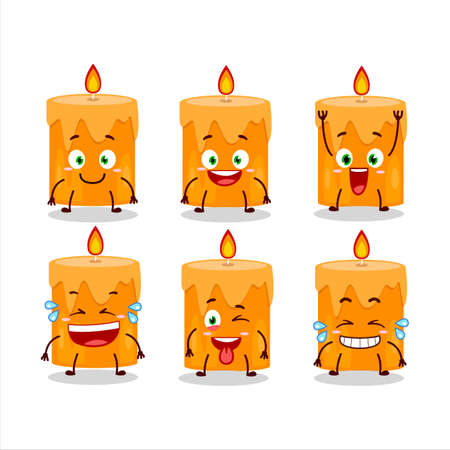 Cartoon character of orange candle with smile expression