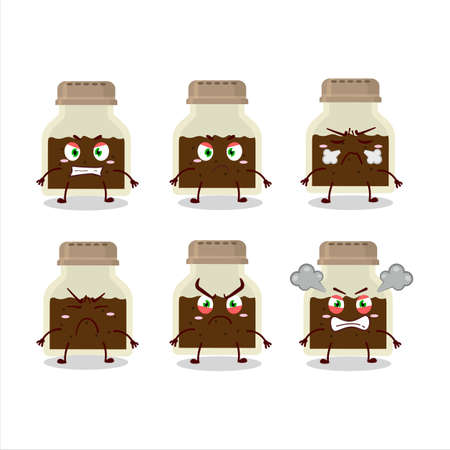 Black pepper bottle cartoon character with various angry expressions